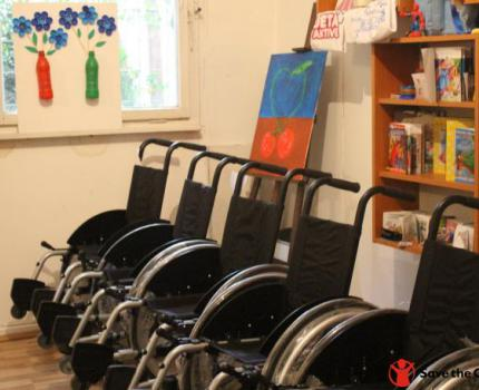 Save the Children in Kosovo and Handikos give away 6 new wheelchairs for children in Gjakova